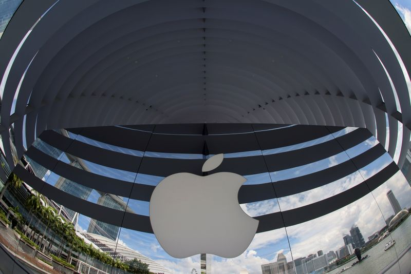 A logo of Apple is seen outside at the upcoming Apple Marina Bay Sands store in Singapore