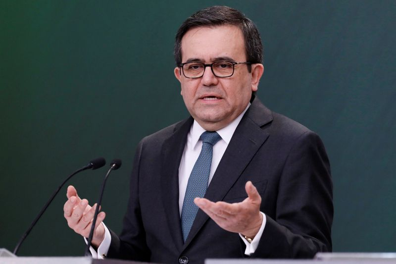 Mexico's Economy Minister Ildefonso Guajardo gestures during a news conference at Los Pinos presidential residence in Mexico City