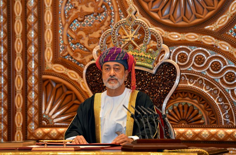 FILE PHOTO: Oman's Sultan Haitham bin Tariq al-Said gives a speech after being sworn in, in Muscat