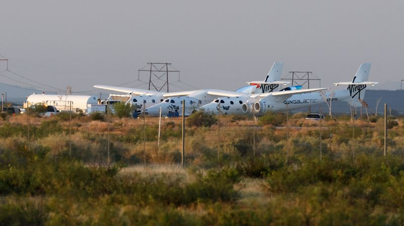 Virgin Galactic's passenger rocket plane VSS Unity is parked before launch at Spaceport America