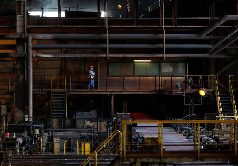 A production line of Nippon Steel & Sumitomo Metal Corp.'s Kimitsu steel plant is pictured in Kimitsu