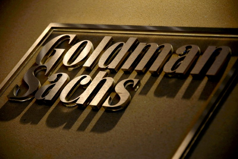 FILE PHOTO: A sign is displayed in the reception of Goldman Sachs in Sydney