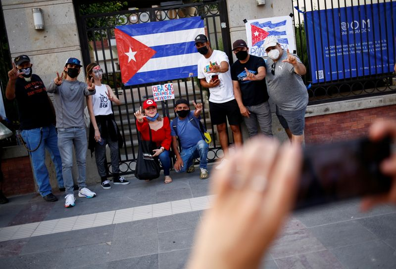 FILE PHOTO: Protest against the Cuban government outside the International Organization for Migration (IOM) offices in Ciudad Juarez