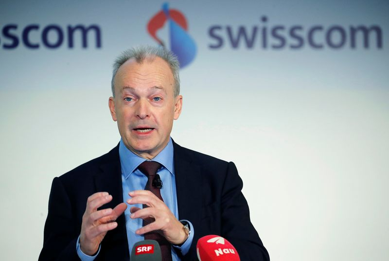 CEO Schaeppi of Swisscom addresses the company's annual news conference in Zurich