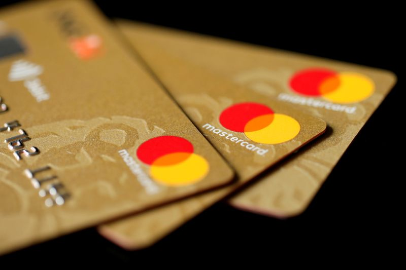FILE PHOTO: FILE PHOTO: Mastercard Inc. credit cards are displayed in this picture illustration