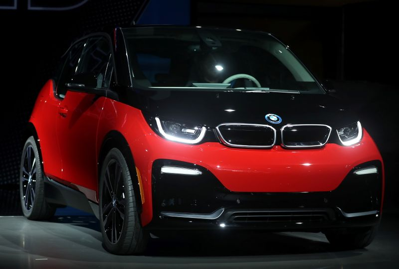 FILE PHOTO: The BMW i3s is displayed at the Los Angeles Auto Show in Los Angeles