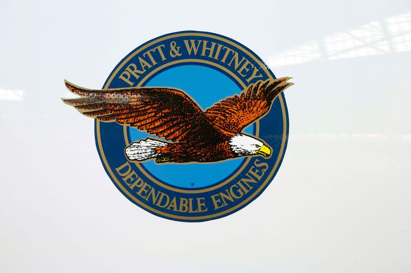 FILE PHOTO:  The logo of U.S. manufacturer Pratt & Whitney is seen on an engine of Swiss airline's new Bombardier CS100 passenger jet at Zurich airport near the town of Kloten