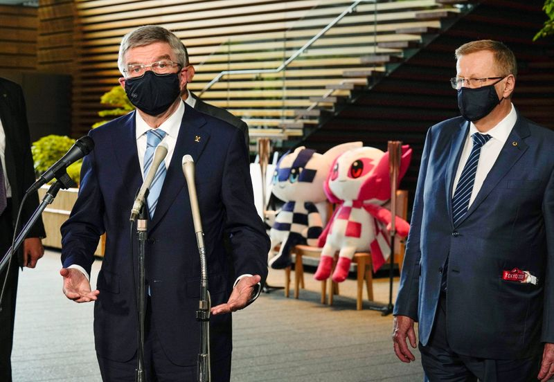 International Olympic Committee President Thomas Bach speaks after a meeting with Japanese Prime Minister Yoshihide Suga, in Tokyo