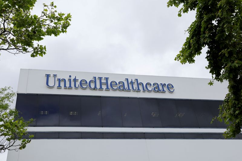FILE PHOTO: The corporate logo of the UnitedHealth Group appears on the side of one of their office buildings in Santa Ana, California