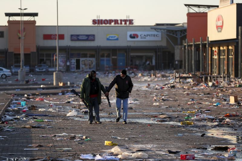 FILE PHOTO: Unrest linked to the jailing of former South African President Zuma, in Vosloorus