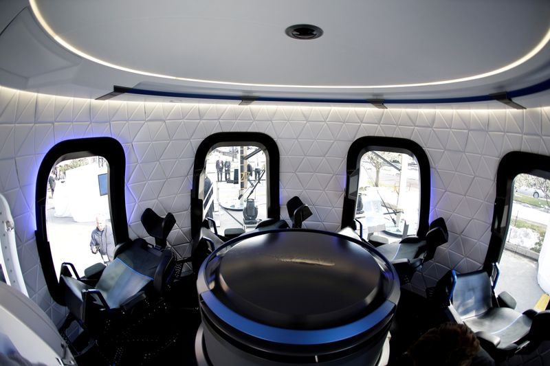 FILE PHOTO: An interior view of the Blue Origin Crew Capsule mockup at the 33rd Space Symposium in Colorado Springs, Colorado