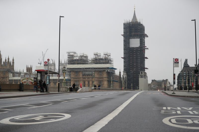 A general view of Big Ben from an empty Westminster bridge