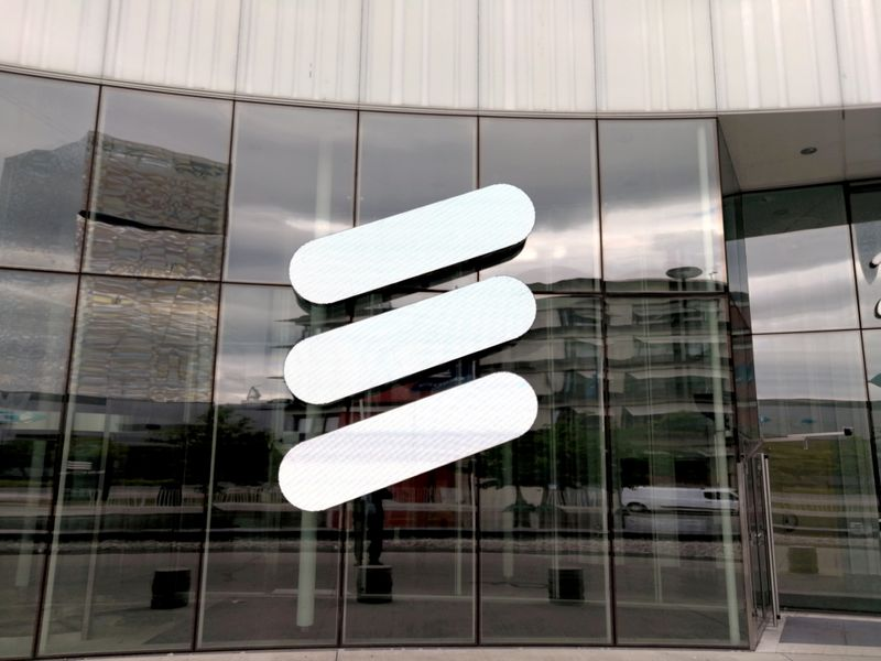 FILE PHOTO: The Ericsson logo is seen at the Ericsson's headquarters in Stockholm