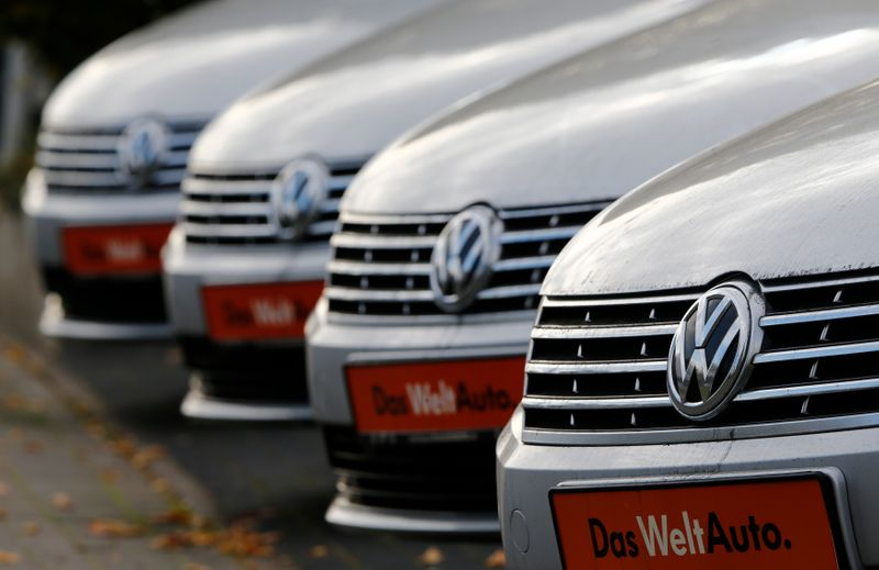 Volkswagen cars are lined up for sale at a car shop in Bad Honnef