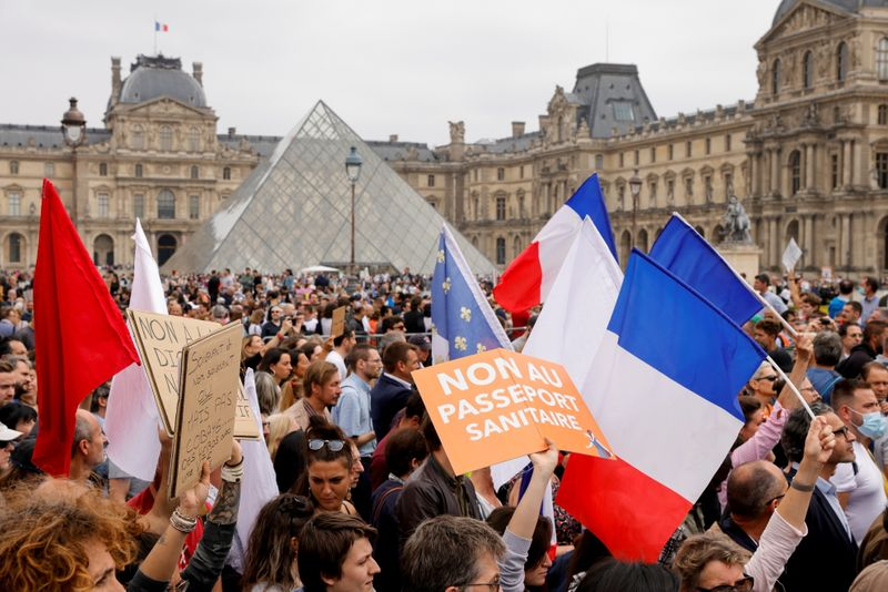 Protest against the new COVID-19 measures, in Paris