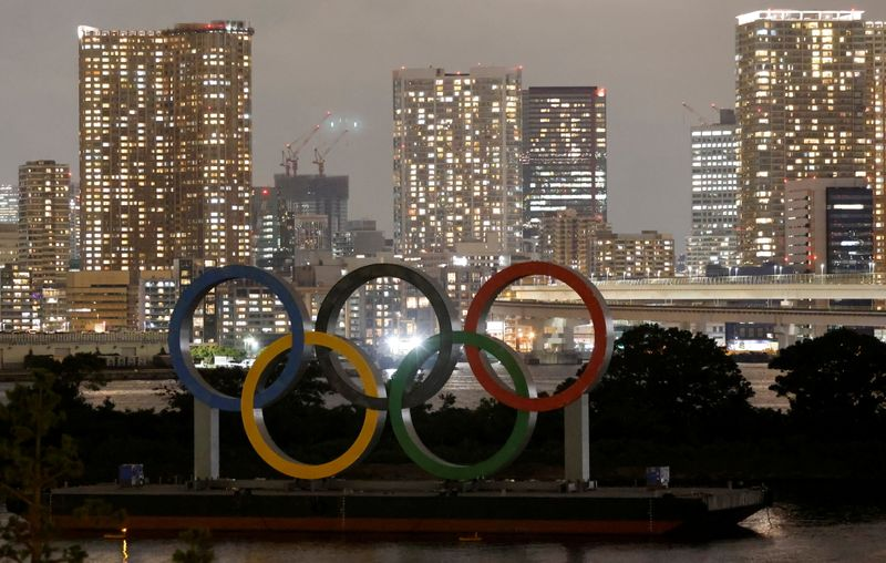 The Olympic Rings installed on a floating platform are seen ahead of the 2020 Tokyo Olympic Games in Tokyo