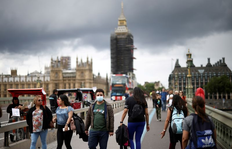 FILE PHOTO: People walk over Westminster Bridge, amid COVID-19 pandemic, in London