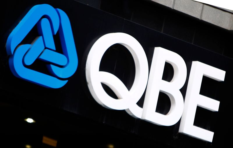 The QBE Insurance logo is seen on an office building in Melbourne