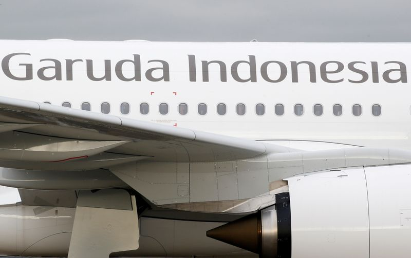 FILE PHOTO: The logo of Garuda Indonesia is pictured on an Airbus A330 aircraft parked at the aircraft builder's headquarters of Airbus in Colomiers