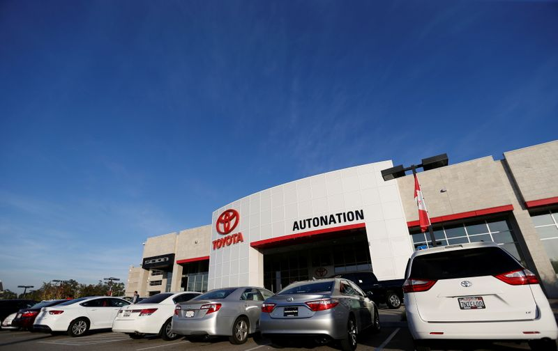 FILE PHOTO: Vehicles for sale are pictured on the lot at AutoNation Toyota dealership in Cerritos
