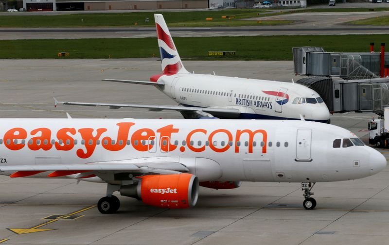 FILE PHOTO: A British Airways and an Easyjet aircrafts are pictured at Cointrin airport in Geneva