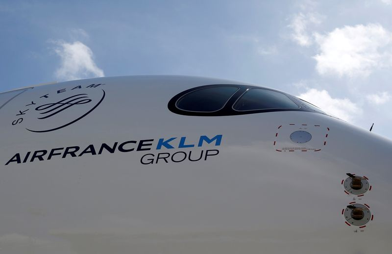 FILE PHOTO: Logo of Air France KLM Group is pictured on the first Air France airliner's Airbus A350 during a ceremony at the aircraft builder's headquarters of Airbus in Colomiers
