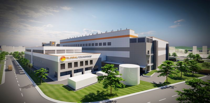 Artist's rendering shows the possible look of a new fab for the chipmaker GlobalFoundries' in Singapore