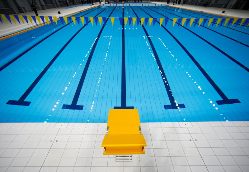 Tokyo Aquatics Centre, which will host artistic swimming, diving, and swimming events at the Tokyo Olympic and Paralympic games, is seen as the outbreak of the coronavirus disease (COVID-19) continues, in Tokyo