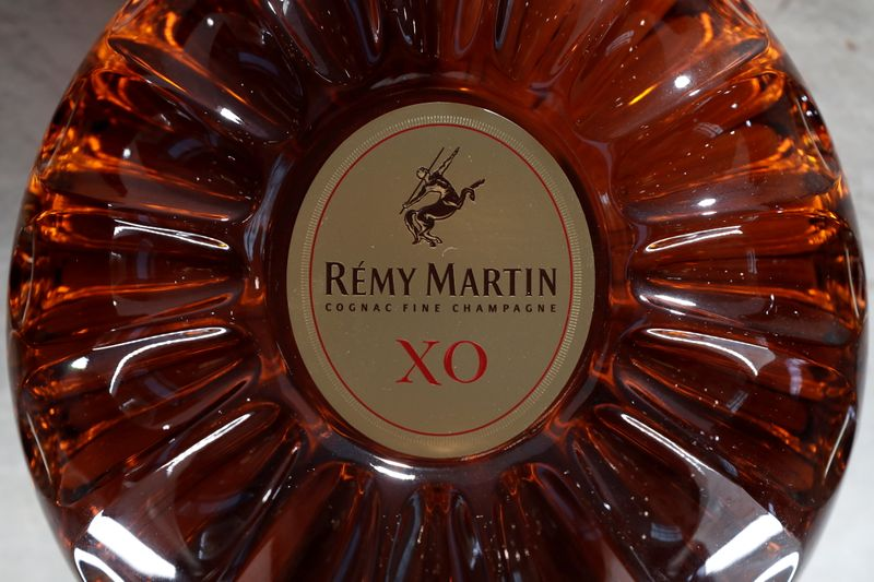 FILE PHOTO: A bottle of Remy Martin XO cognac is displayed at the Remy Cointreau SA headquarters in Paris