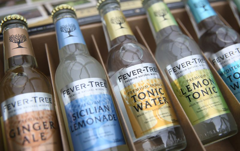 FILE PHOTO: Products from the drinks company Fever Tree are displayed in London