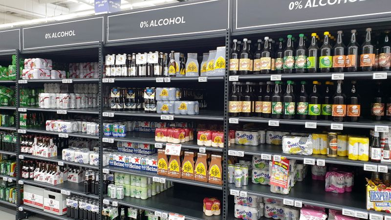 Shelves with non-alcoholic beer are seen at a supermarket in Brussels