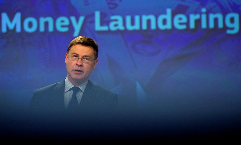 European Commission Vice-President Valdis Dombrovskis speaks during a news conference regarding money laundering, as the spread of the coronavirus disease (COVID-19) continues at the EU headquarters in Brussels