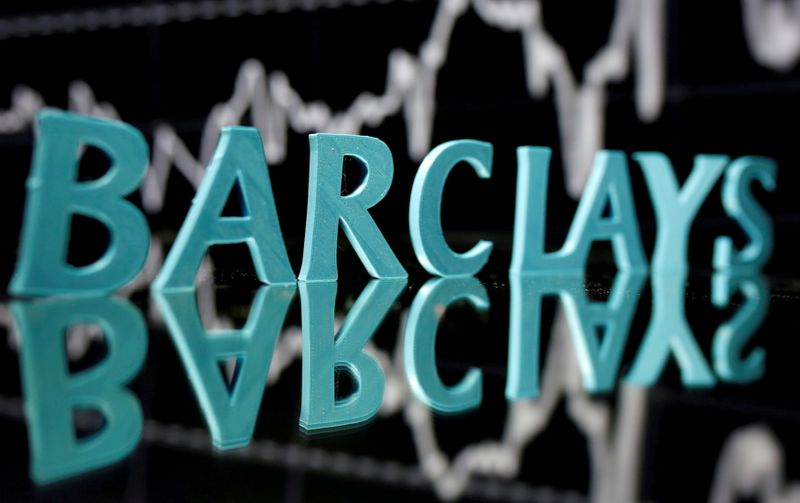 FILE PHOTO: FILE PHOTO: FILE PHOTO: The Barclays logo is seen in front of displayed stock graph in this illustration