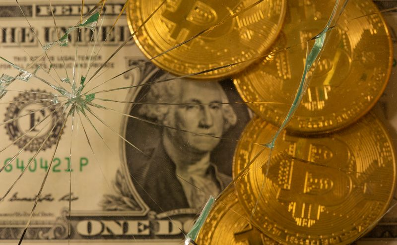 Dollar and bitcoin are pictured through broken glass in this illustration