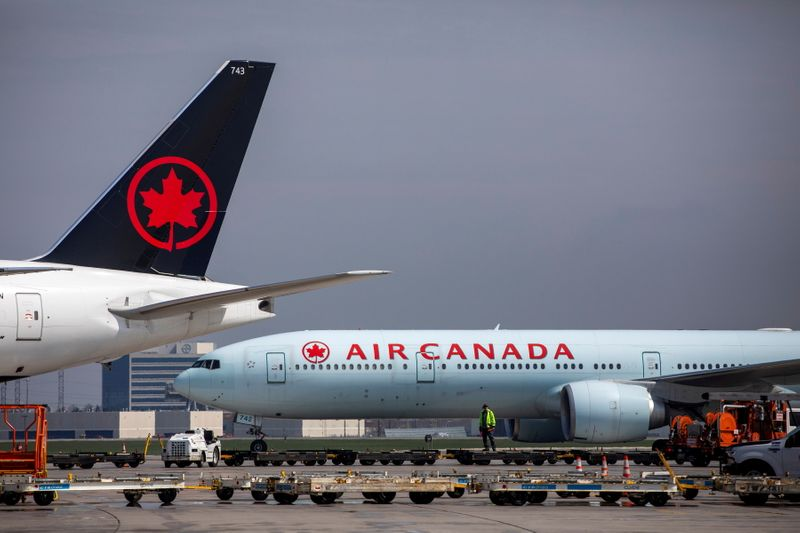 FILE PHOTO: Airplanes at Toronto Pearson airport