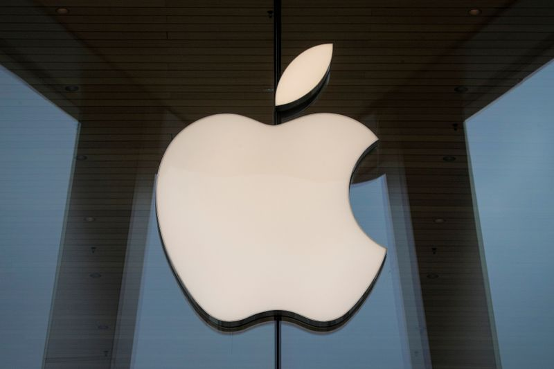 FILE PHOTO: The Apple logo is seen at an Apple Store, as Apple's new 5G iPhone 12 went on sale in Brooklyn, New York