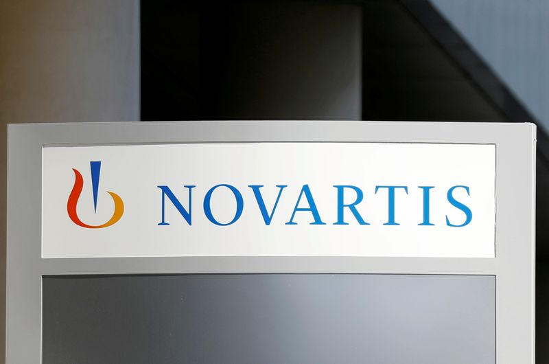The logo of Swiss drugmaker Novartis is pictured at the company's headquarters in Rueil-Malmaison