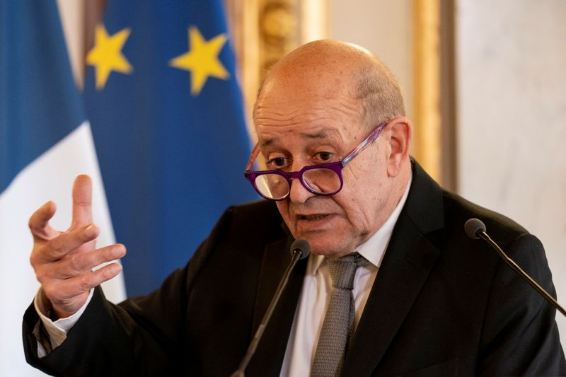 FILE PHOTO: U.S. Secretary of State Antony Blinken, meets with French Foreign Affairs Minister Jean-Yves Le Drian at the French Ministry of Foreign Affairs in Paris