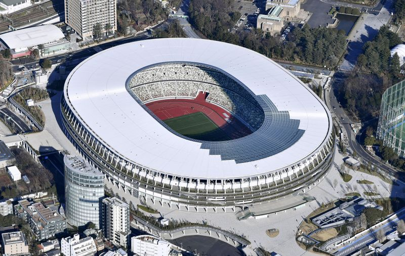 An aerial view shows the new National Stadium, the main stadium of Tokyo 2020 Olympics and Paralympics, in Tokyo