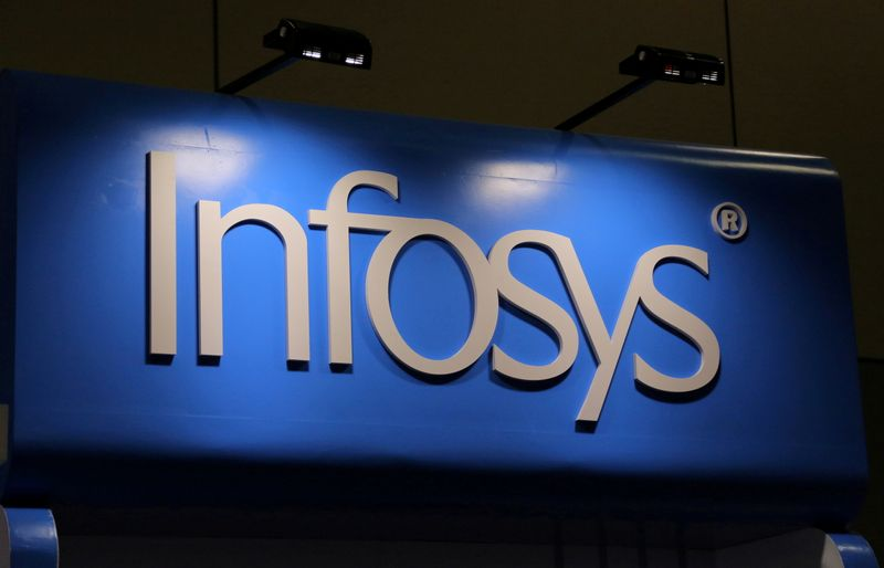 FILE PHOTO: The Infosys logo is seen at the SIBOS banking and financial conference in Toronto