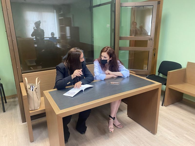 Kira Yarmysh, spokesperson for jailed Kremlin critic Alexei Navalny, attends a court hearing in Moscow