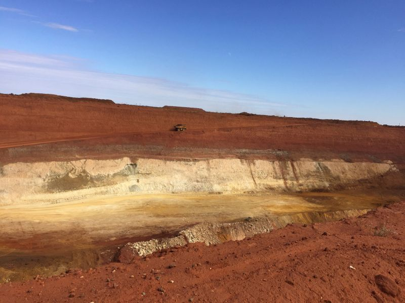 A truck carrying rare earths travels towards Lynas Corp's Mount Weld processing plant, in Western Australia