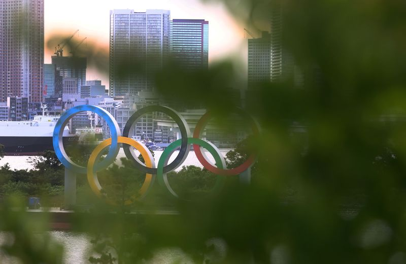 The Olympic Rings are photographed ahead of the Tokyo 2020 Olympic Games in Tokyo