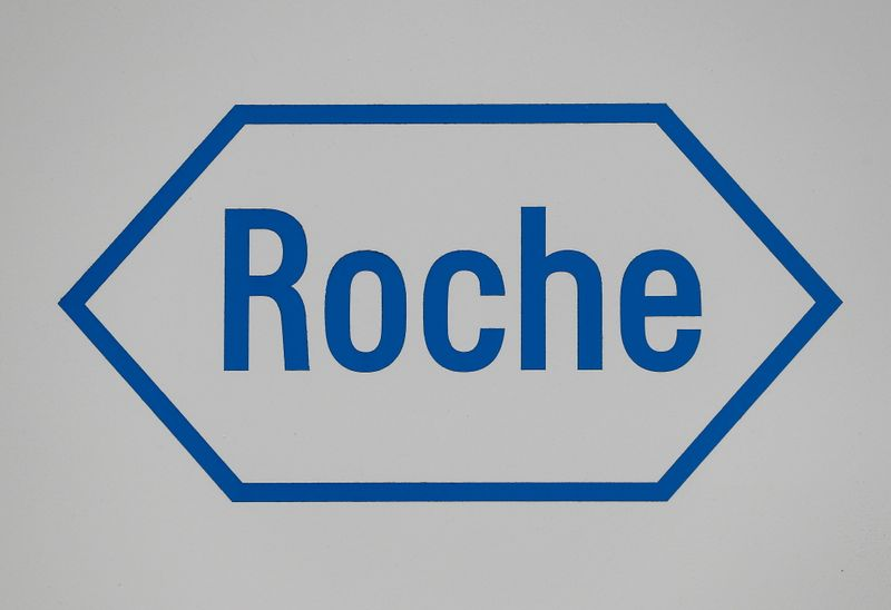 FILE PHOTO: A sign at a diagnostics site for Swiss pharmaceutical giant Roche