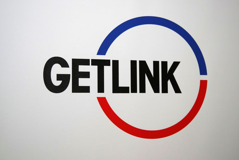 The logo of Channel tunnel operator Getlink, formerly known as Eurotunnel, is seen during the company's 2018 annual results presentation in Paris