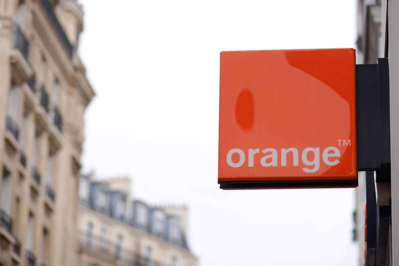 FILE PHOTO: The logo of French telecoms operator Orange is seen a store in Paris