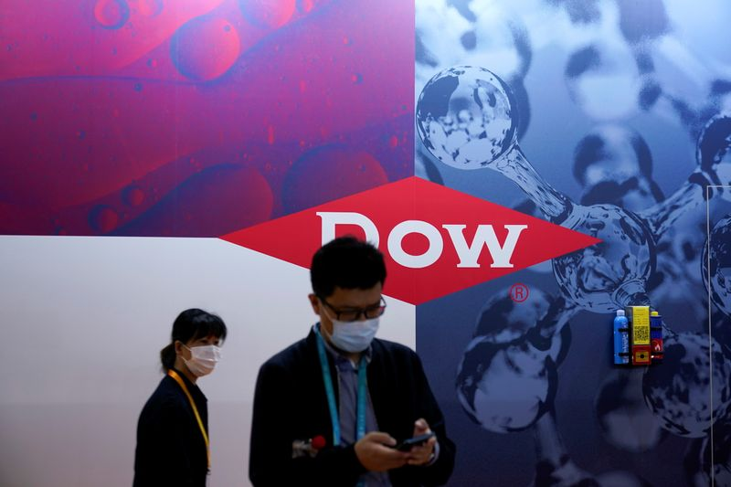 A Dow sign is seen at the third China International Import Expo (CIIE) in Shanghai