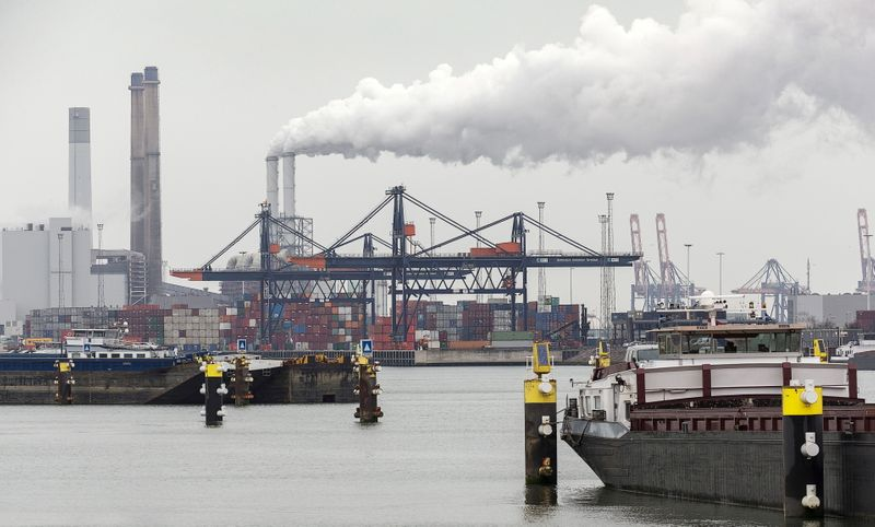 FILE PHOTO: View of a container terminal in the port of Rotterdam