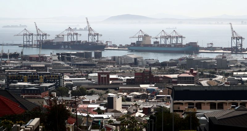 FILE PHOTO: Container ships in Cape Town, South Africa