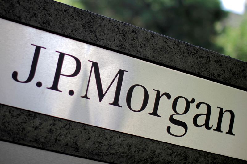 FILE PHOTO:  The logo of Dow Jones Industrial Average stock market index listed company JPMorgan Chase (JPM) is seen in Los Angeles